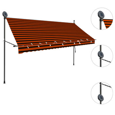 """vidaXL Manual Retractable Awning with LED 118.1"""" Orange and Brown"""