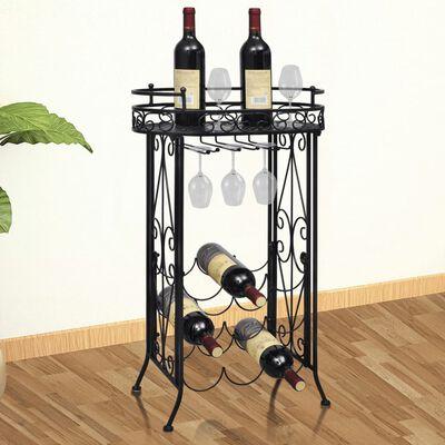vidaXL Wine Rack with Glass Holder for 9 Bottles Metal