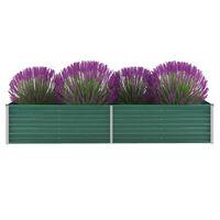 "vidaXL Garden Raised Bed Galvanized Steel 94.5""x31.5""x17.7"" Green"