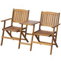"vidaXL Folding Garden Bench with Tea Table 55.1"" Solid Acacia Wood"