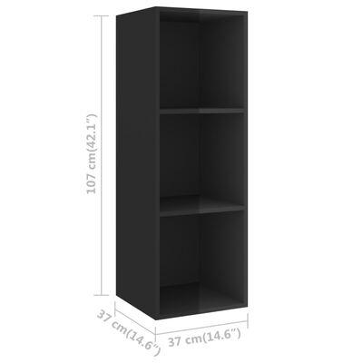 vidaXL 3 Piece TV Cabinet Set High Gloss Black Chipboard