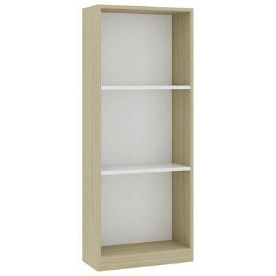 """vidaXL 3-Tier Book Cabinet White and Sonoma Oak 15.7""""x9.4""""x42.5"""" Chipboard"""