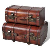 vidaXL Wooden Treasure Chest 2 pcs Vintage Brown