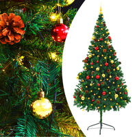 """vidaXL Artificial Christmas Tree with Baubles and LEDs Green 82.7"""""""