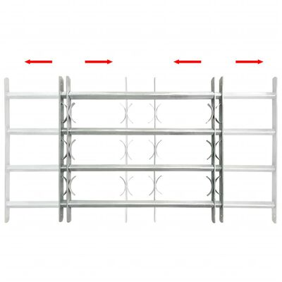 """Adjustable Security Grille for Windows with 4 Crossbars 19.7""""-25.6"""""""