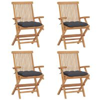 vidaXL Garden Chairs with Anthracite Cushions 4 pcs Solid Teak Wood