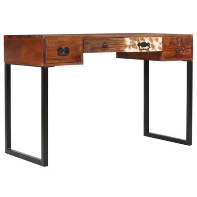 """vidaXL Desk Solid Sheesham Wood and Real Leather 46""""x19.6""""x29.9"""""""