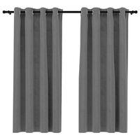 "vidaXL Blackout Curtains with Rings 2 pcs Gray 54""x84"" Velvet"