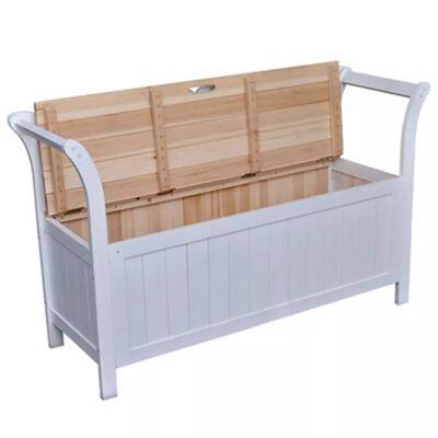 """vidaXL Storage Bench 49.6""""x16.5""""x29.5"""" Wood White"""