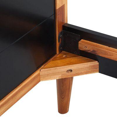 "vidaXL Bed Frame Black Solid Acacia Wood 78.7""x55.1"""