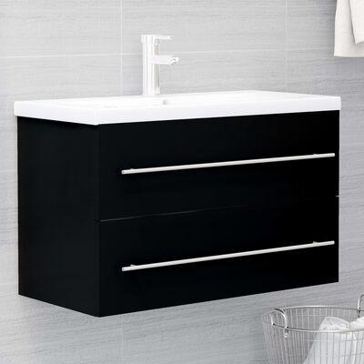 vidaXL 2 Piece Bathroom Furniture Set Black Chipboard
