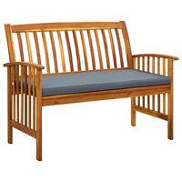 "vidaXL Garden Bench with Cushion 46.9"" Solid Acacia Wood"