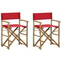 vidaXL Folding Director's Chairs 2 pcs Red Bamboo and Fabric
