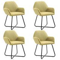 vidaXL Dining Chairs 4 pcs Green Fabric