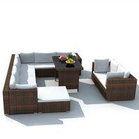 vidaXL 10 Piece Garden Lounge Set with Cushions Poly Rattan Brown
