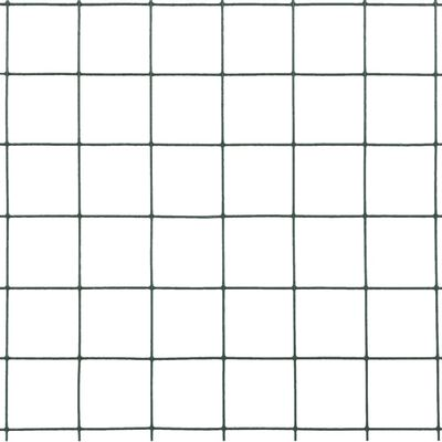 vidaXL Chicken Wire Fence Steel with PVC Coating 82'x1.6' Green