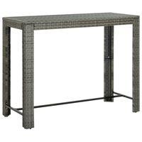 "vidaXL Garden Bar Table Gray 55.3""x23.8""x43.5"" Poly Rattan"