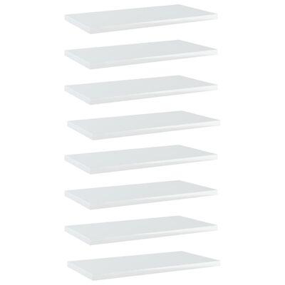 "vidaXL Bookshelf Boards 8 pcs High Gloss White 15.7""x7.9""x0.6"" Chipboard"
