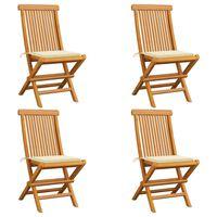 vidaXL Garden Chairs with Cream Cushions 4 pcs Solid Teak Wood