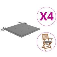"vidaXL Garden Chair Cushions 4 pcs Grey 15.7""x15.7""x1.6"""