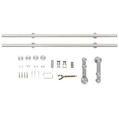 "vidaXL Sliding Door Hardware Kit 72"" Stainless Steel Silver"
