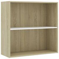 """vidaXL 2-Tier Book Cabinet White and Sonoma Oak 31.5""""x11.8""""x30.1"""" Chipboard"""
