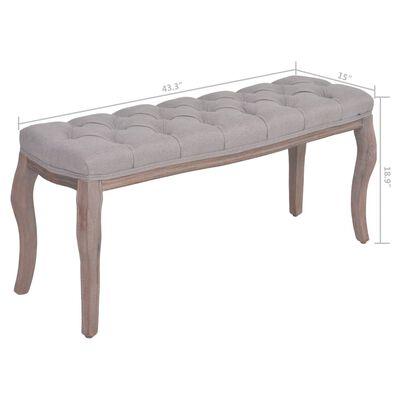 "vidaXL Bench Fabric Solid Wood 43.3""x15""x18.9"" Light Gray"