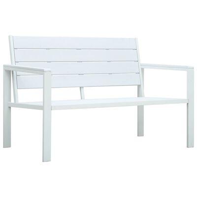 "vidaXL Garden Bench 47.2"" HDPE White Wood Look"
