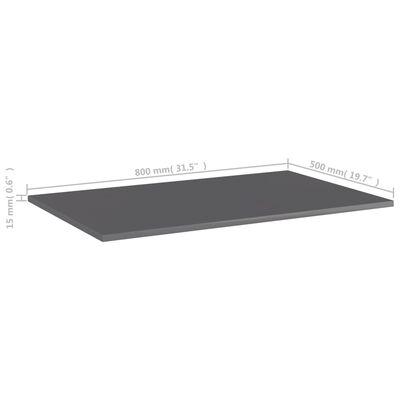 "vidaXL Bookshelf Boards 4 pcs High Gloss Gray 31.5""x19.7""x0.6"" Chipboard"
