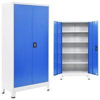 "vidaXL Office Cabinet Metal 35.4""x15.7""x70.9"" Gray and Blue"