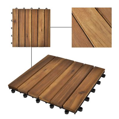 "vidaxl 10 pcs Acacia Decking Tiles 11.8""x11.8"" Vertical Pattern"