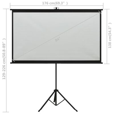 "vidaXL Projection Screen with Tripod 84"" 4:3"