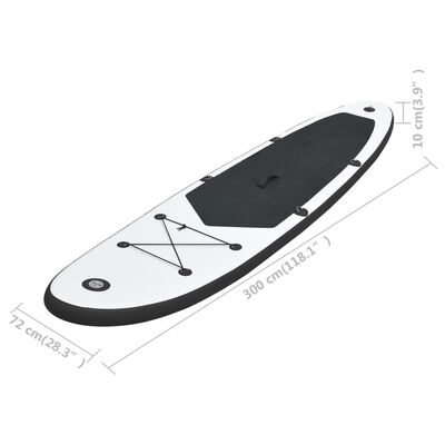 vidaXL Inflatable Stand Up Paddleboard Set Black and White