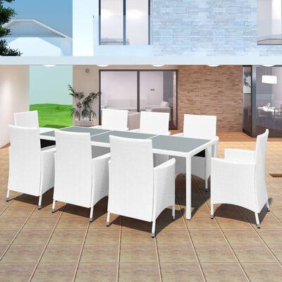 vidaXL 7 Piece Outdoor Dining Set Poly Rattan Cream White