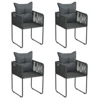 vidaXL Outdoor Chairs 4 pcs with Pillows Poly Rattan Black