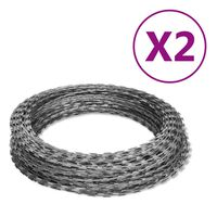 vidaXL NATO Razor Wires Helical Wire Rolls 2 pcs Galvanized Steel 328.1'