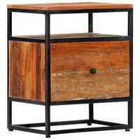 "vidaXL Bedside Cabinet 15.8""x11.8""x19.7"" Solid Reclaimed Wood and Steel"