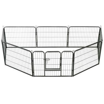"vidaXL Dog Playpen 12 Panels Steel 31.5""x23.6"" Black"