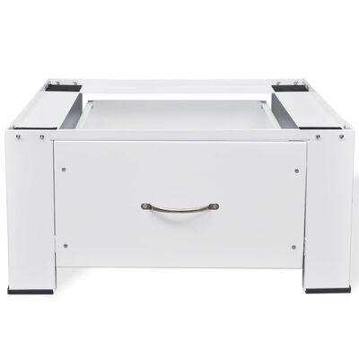 vidaXL Washing Machine Pedestal with Drawer White