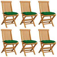 vidaXL Garden Chairs with Green Cushions 6 pcs Solid Teak Wood