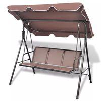 vidaXL Garden Swing Bench with Canopy Coffee
