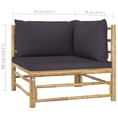 vidaXL 12 Piece Garden Lounge Set with Dark Gray Cushions Bamboo