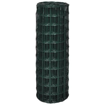 vidaXL Euro Fence Steel 82ft x 3.9ft Green