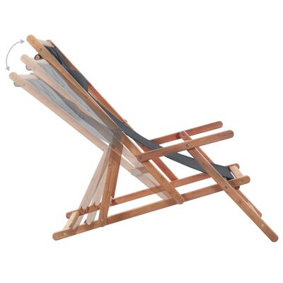 vidaXL Folding Beach Chair Fabric and Wooden Frame Gray