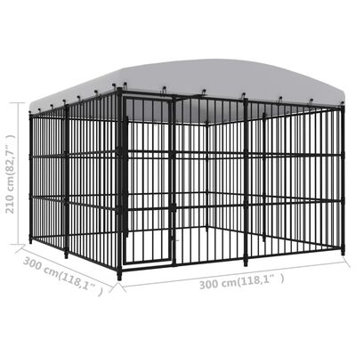 """vidaXL Outdoor Dog Kennel with Roof 118.1""""x118.1""""x82.7"""""""