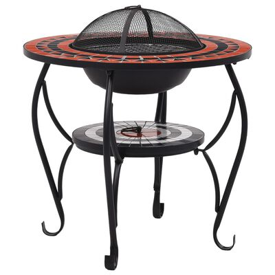 """vidaXL Mosaic Fire Pit Table Terracotta and White 26.8"""" Ceramic"""