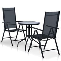 vidaXL 5 Piece Outdoor Dining Set Aluminium and Textilene Black