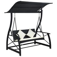 vidaXL 3-Seater Garden Swing Bench with Canopy Poly Rattan Black