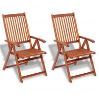vidaXL Folding Garden Chairs 2 pcs Solid Acacia Wood Brown