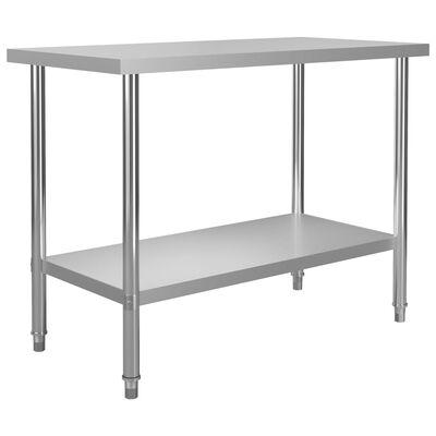 """vidaXL Kitchen Work Table 47.2""""x23.6""""x33.5"""" Stainless Steel"""